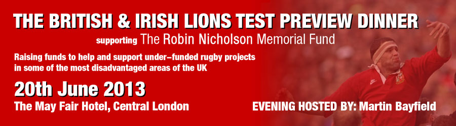 British & Irish Lions Test Preview Dinner in support of Robin's Fund