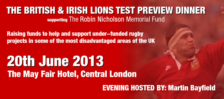 British & Irish Lions Test Preview Dinner supporting Robin's Fund